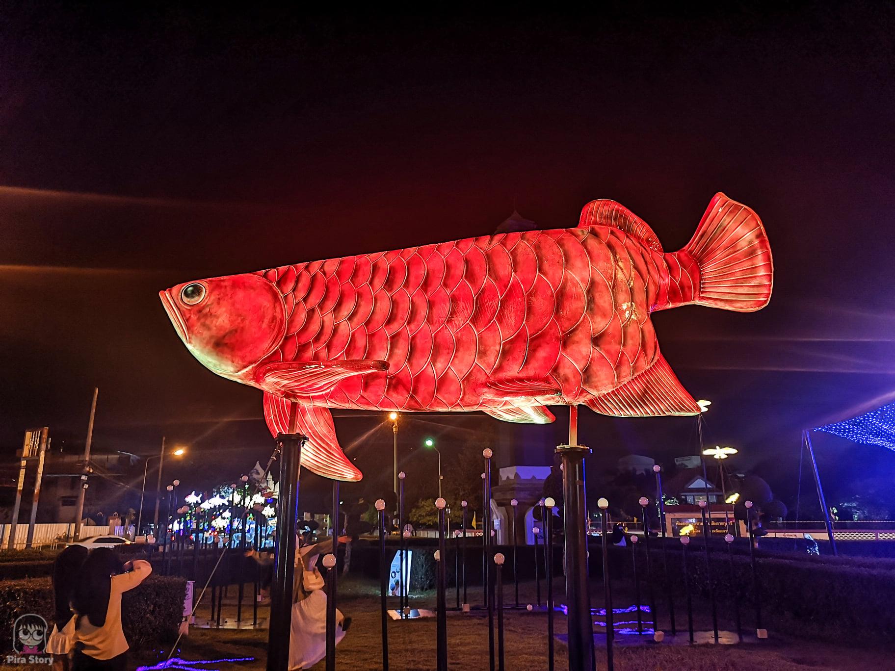 ปลามังกร อำเภอรามัน ปลาประจำจังหวัด สัตว์ประจำจังหวัด วงเวียนหอนาฬิกา เทศบาลนครยะลา yala 2021 ยะลา เที่ยวยะลา จังหวัดยะลา สามจังหวัดชายแดน ชายแดนใต้ ใต้สุดสยาม ไฟประดับ ปีใหม่ ถ่ายรูปไฟ ถ่ายรูปปีใหม่ ถ่ายรูปไฟคริสมาสต์